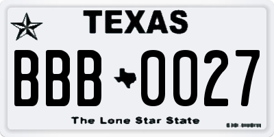 TX license plate BBB0027