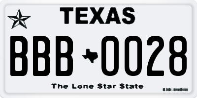 TX license plate BBB0028