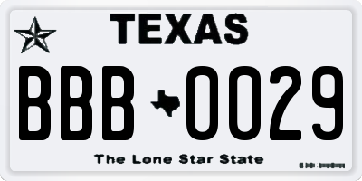TX license plate BBB0029