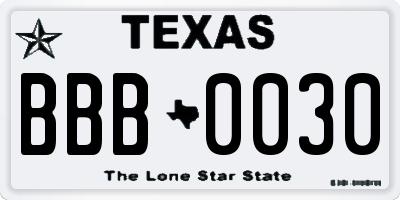 TX license plate BBB0030