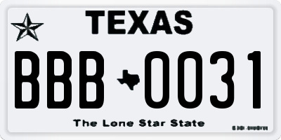 TX license plate BBB0031
