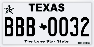 TX license plate BBB0032
