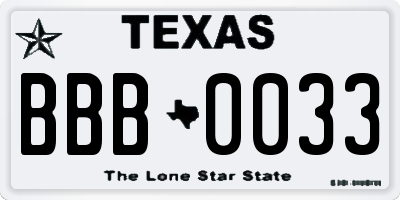 TX license plate BBB0033