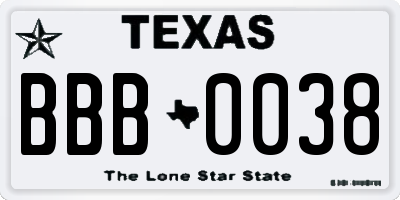 TX license plate BBB0038
