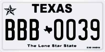 TX license plate BBB0039