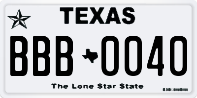 TX license plate BBB0040