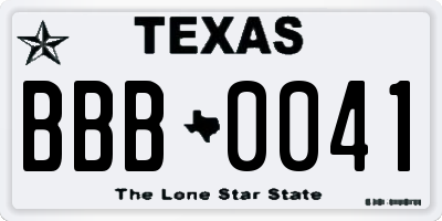 TX license plate BBB0041