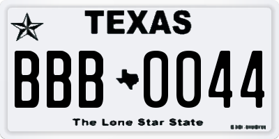 TX license plate BBB0044