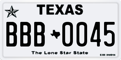 TX license plate BBB0045