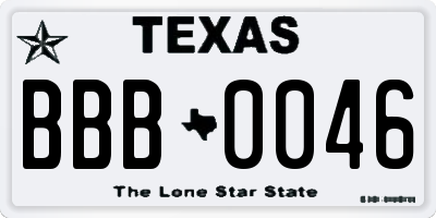 TX license plate BBB0046