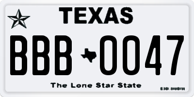 TX license plate BBB0047