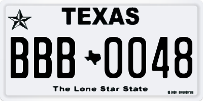 TX license plate BBB0048
