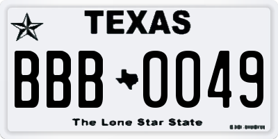 TX license plate BBB0049
