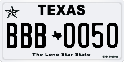 TX license plate BBB0050