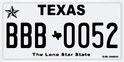 TX license plate BBB0052