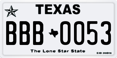 TX license plate BBB0053