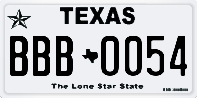 TX license plate BBB0054