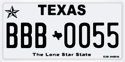 TX license plate BBB0055