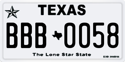 TX license plate BBB0058