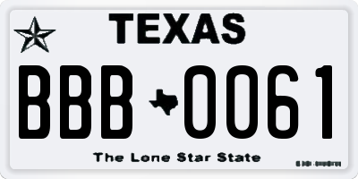 TX license plate BBB0061
