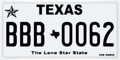 TX license plate BBB0062