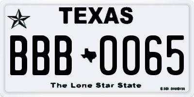 TX license plate BBB0065