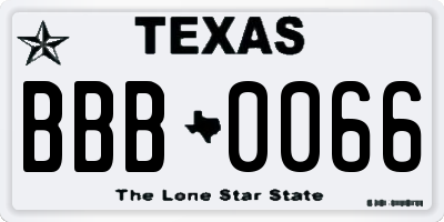TX license plate BBB0066