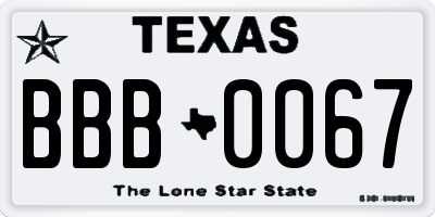 TX license plate BBB0067