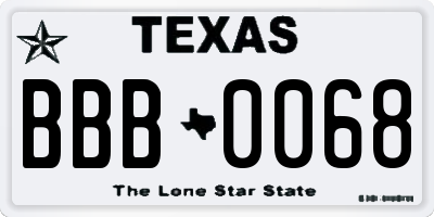 TX license plate BBB0068
