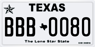 TX license plate BBB0080