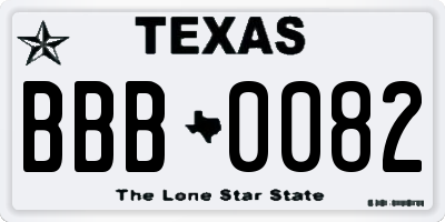 TX license plate BBB0082