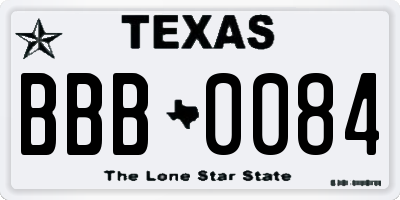 TX license plate BBB0084