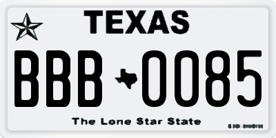 TX license plate BBB0085