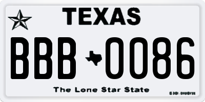 TX license plate BBB0086