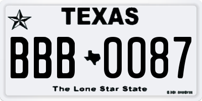 TX license plate BBB0087