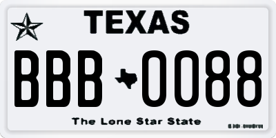 TX license plate BBB0088