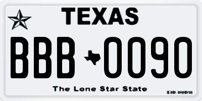 TX license plate BBB0090