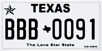 TX license plate BBB0091