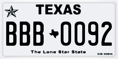 TX license plate BBB0092