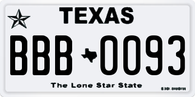 TX license plate BBB0093