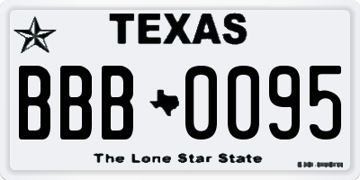 TX license plate BBB0095