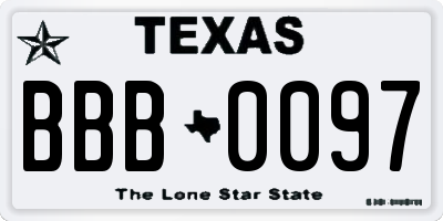 TX license plate BBB0097