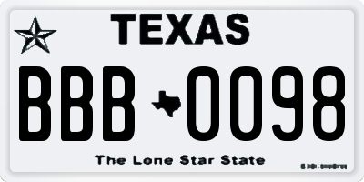 TX license plate BBB0098