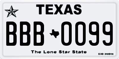TX license plate BBB0099