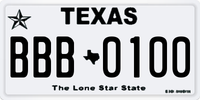TX license plate BBB0100