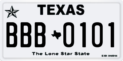 TX license plate BBB0101