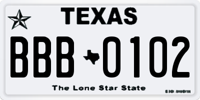 TX license plate BBB0102