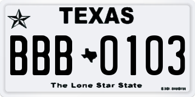 TX license plate BBB0103