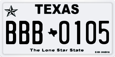 TX license plate BBB0105