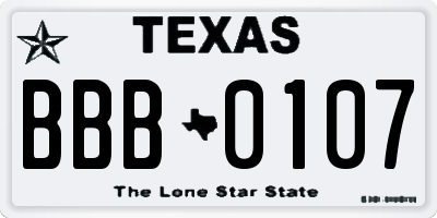 TX license plate BBB0107